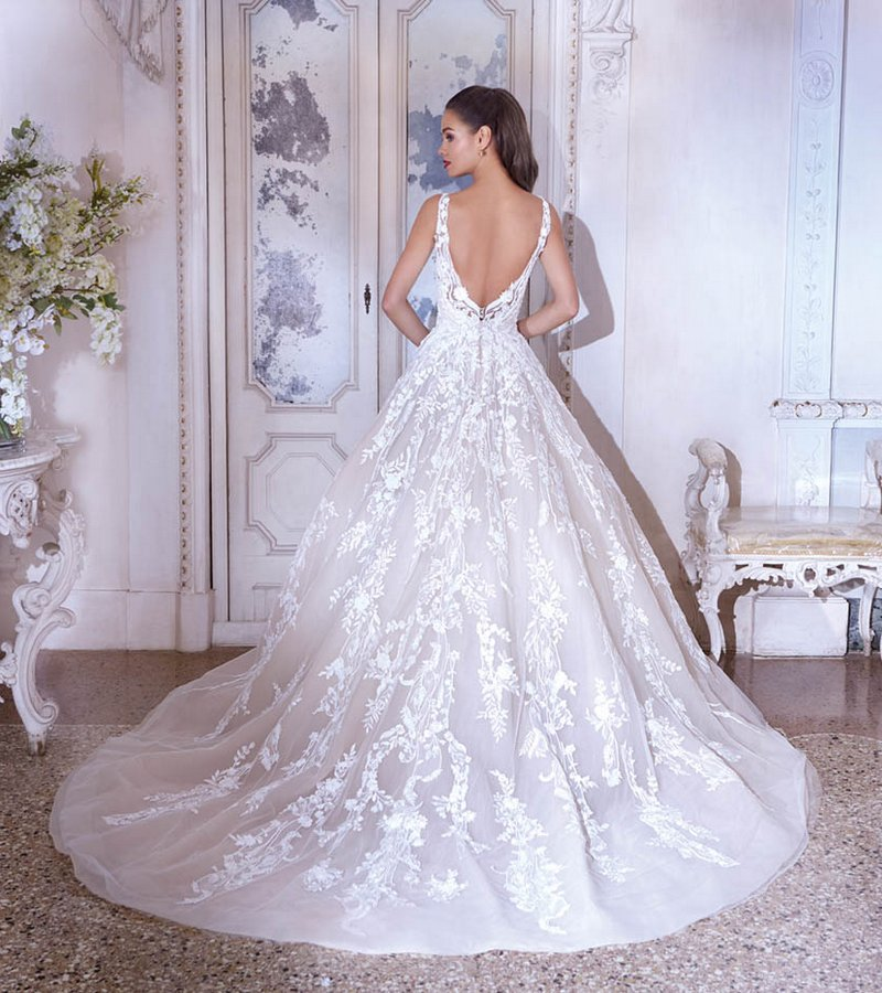 Back of DP384 Nadine Wedding Dress from the Platinum by Demetrios 2019 Bridal Collection