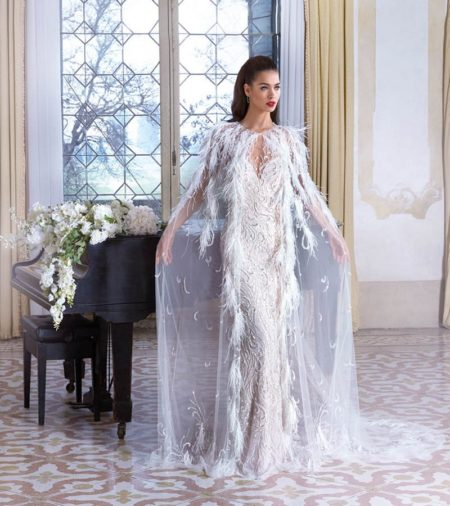 DP389 Vivienne Wedding Dress with Feather Cape from the Platinum by Demetrios 2019 Bridal Collection