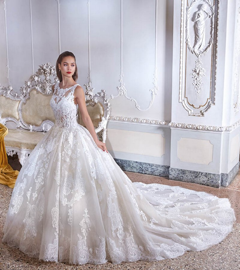 Back of DP390 Simone Wedding Dress from the Platinum by Demetrios 2019 Bridal Collection