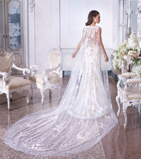 Back of DP391 Valerie Wedding Dress with Lace Cape from the Platinum by Demetrios 2019 Bridal Collection