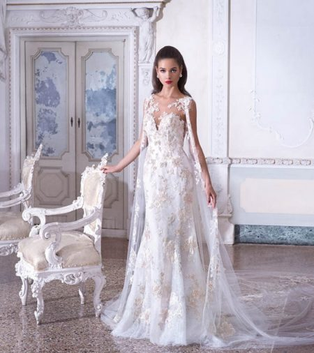 DP391 Valerie Wedding Dress with Lace Cape from the Platinum by Demetrios 2019 Bridal Collection