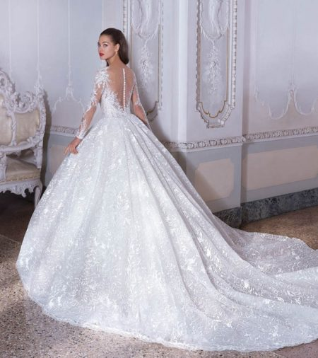 Back of DP392 Celeste Wedding Dress from the Platinum by Demetrios 2019 Bridal Collection