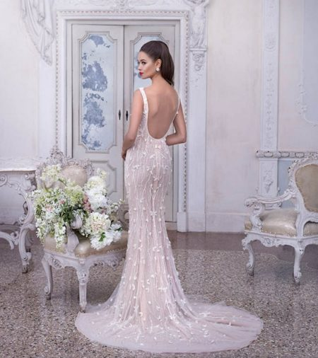 Back of DP395 Madeleine Wedding Dress from the Platinum by Demetrios Clair de Lune 2019 Bridal Collection