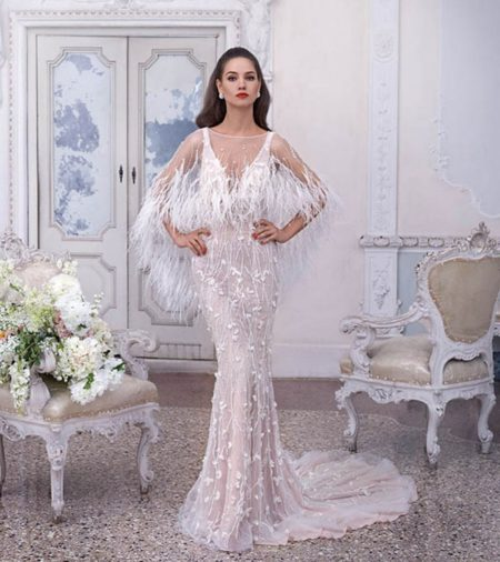 DP395 Madeleine Wedding Dress with Feather Cape from the Platinum by Demetrios 2019 Bridal Collection