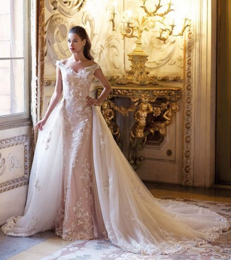 DP396 Brigitte Wedding Dress with Train from the Platinum by Demetrios 2019 Bridal Collection