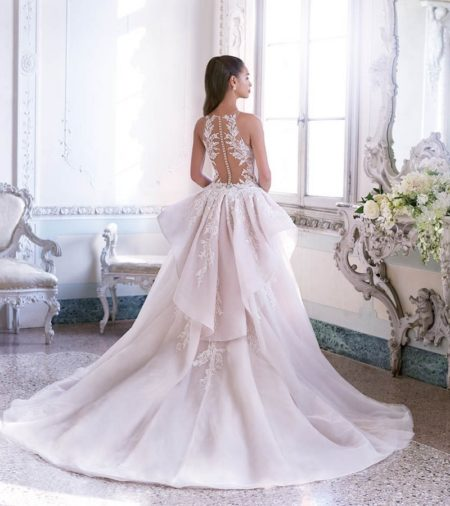Back of DP400 Louise Wedding Dress with Train from the Platinum by Demetrios Clair de Lune 2019 Bridal Collection