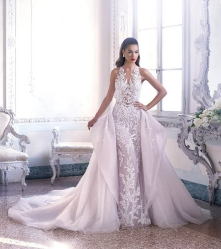 DP400 Louise Wedding Dress with Train from the Platinum by Demetrios Clair de Lune 2019 Bridal Collection