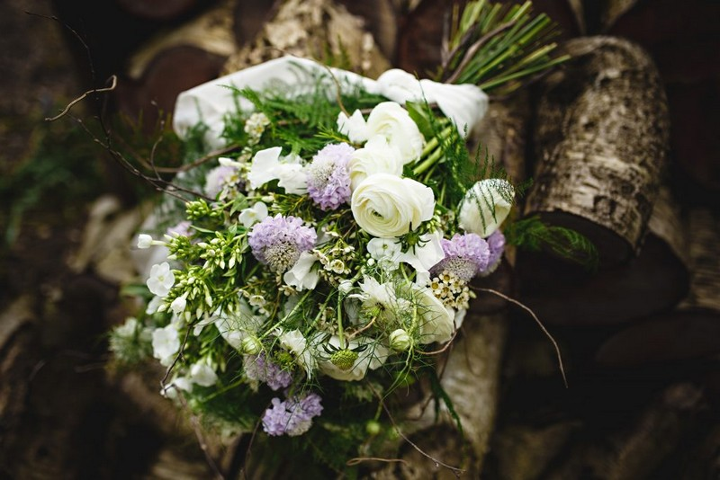 Lilac and White Bridal Bouquet