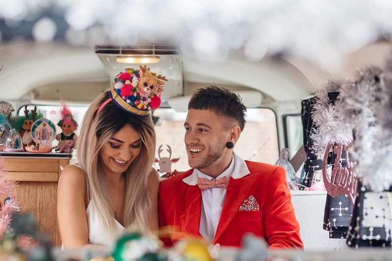 Bride and groom in VW van