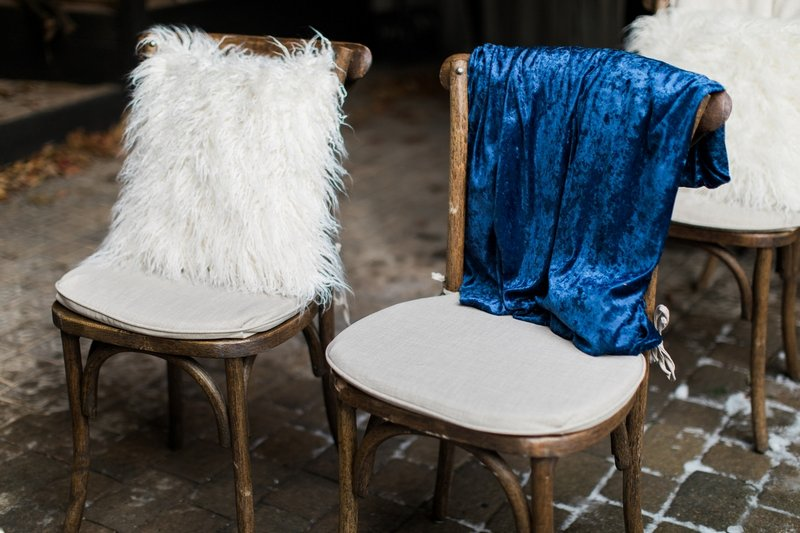 Wedding seats with blue and white blankets