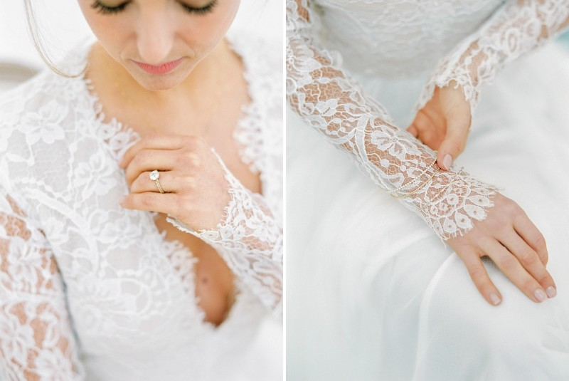 Lace detail on sleeves of bride's wedding dress