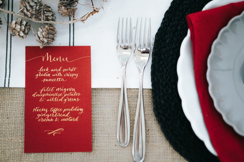 Red winter wedding menu