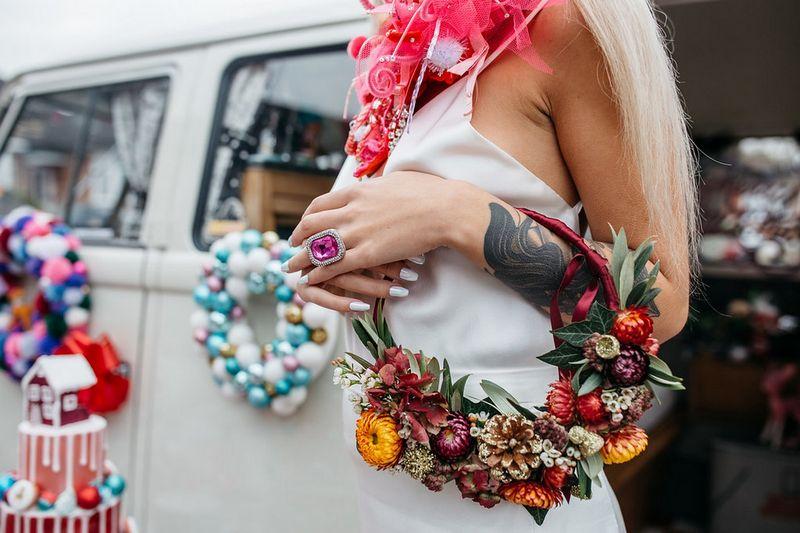Bride's Christmas floral hoop