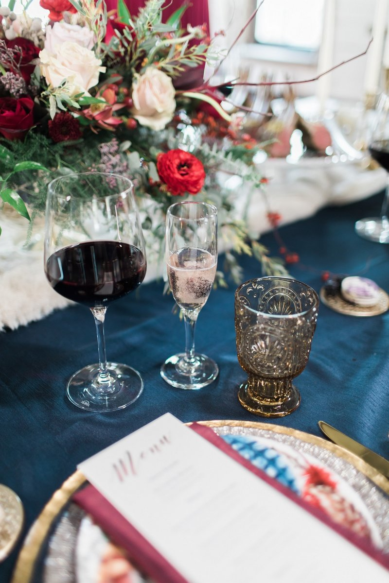 Glasses on wedding table