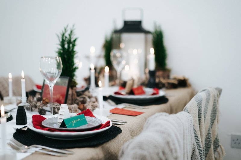 Nordic winter wedding table styling