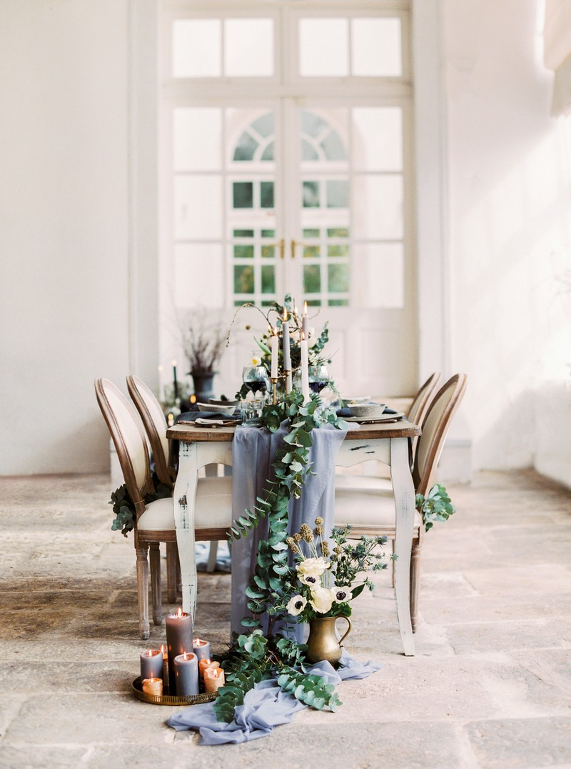 Small table with grey wedding styling