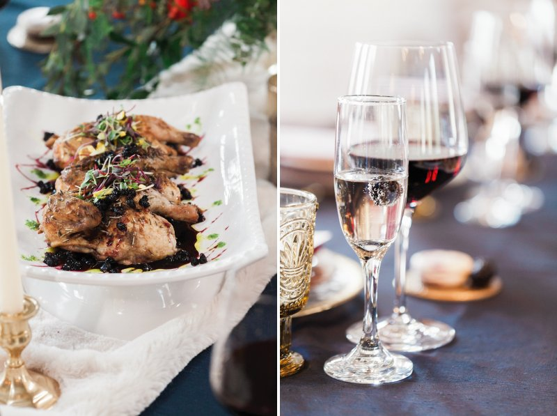 Winter wedding food and glasses of wine