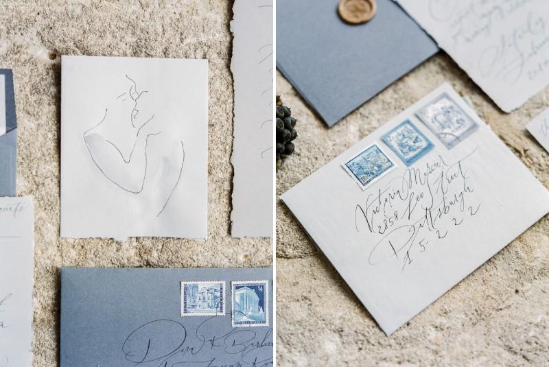 Grey envelopes for wedding stationery