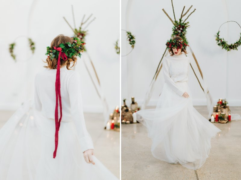 Bride wearing foliage and red berry crown with ribbon