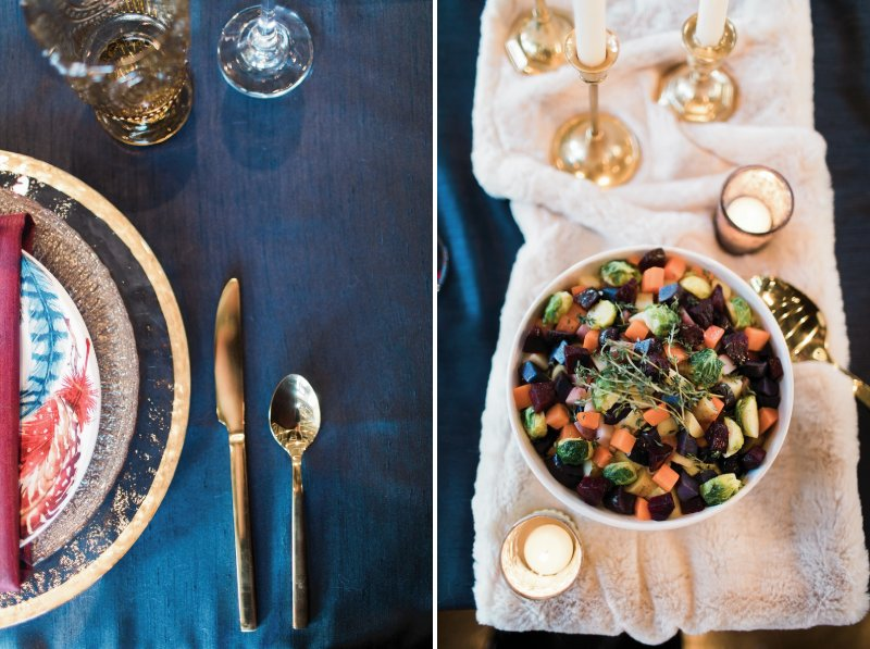 Winter wedding food and gold cutlery