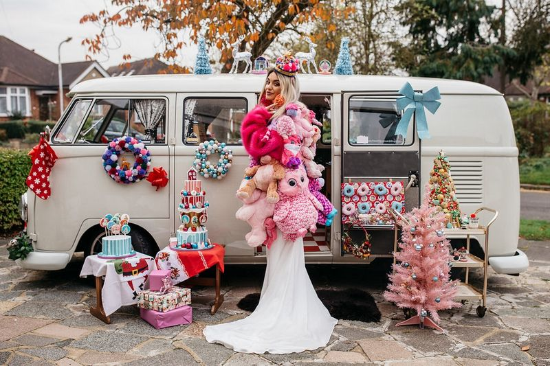 Bride wearing coat made from soft toys