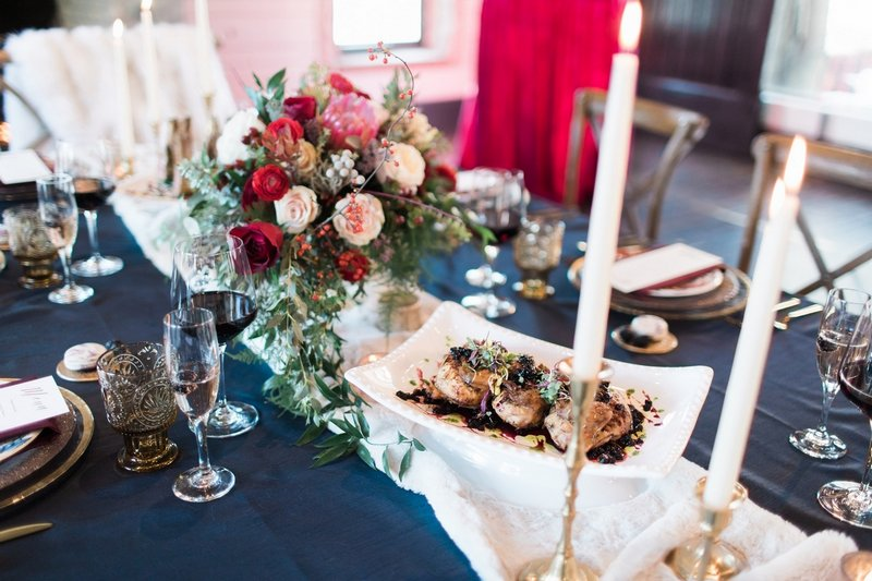 Winter wedding food and table flowers