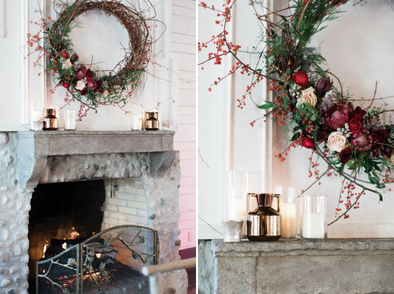 Fireplace with winter wreath