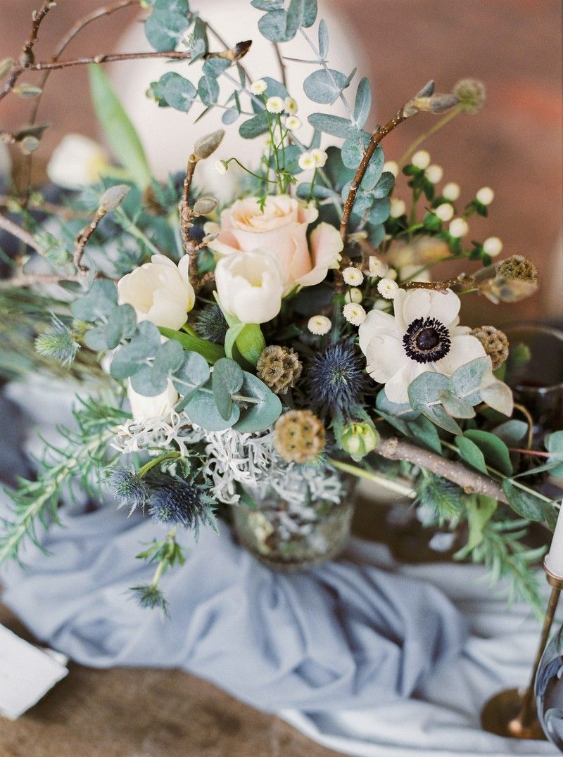 Winter wedding floral table display