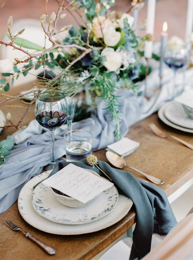 Winter wedding place setting with grey styling