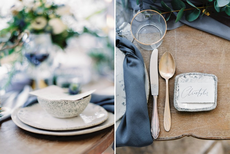 Grey bowl and gold cutlery on wedding table