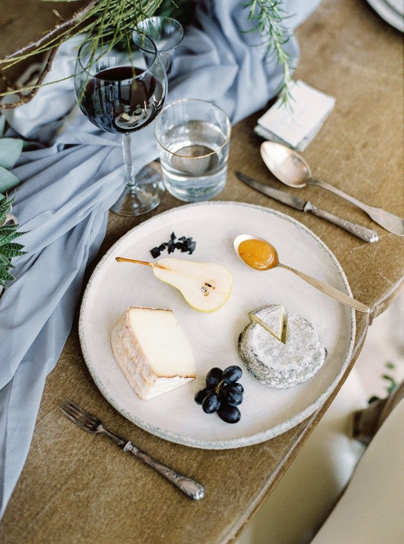 Cheese and pear on wedding plate