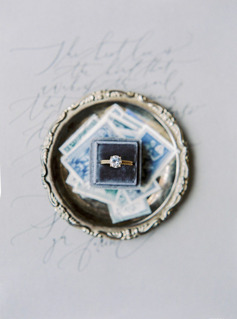 Wedding ring on top of stamps