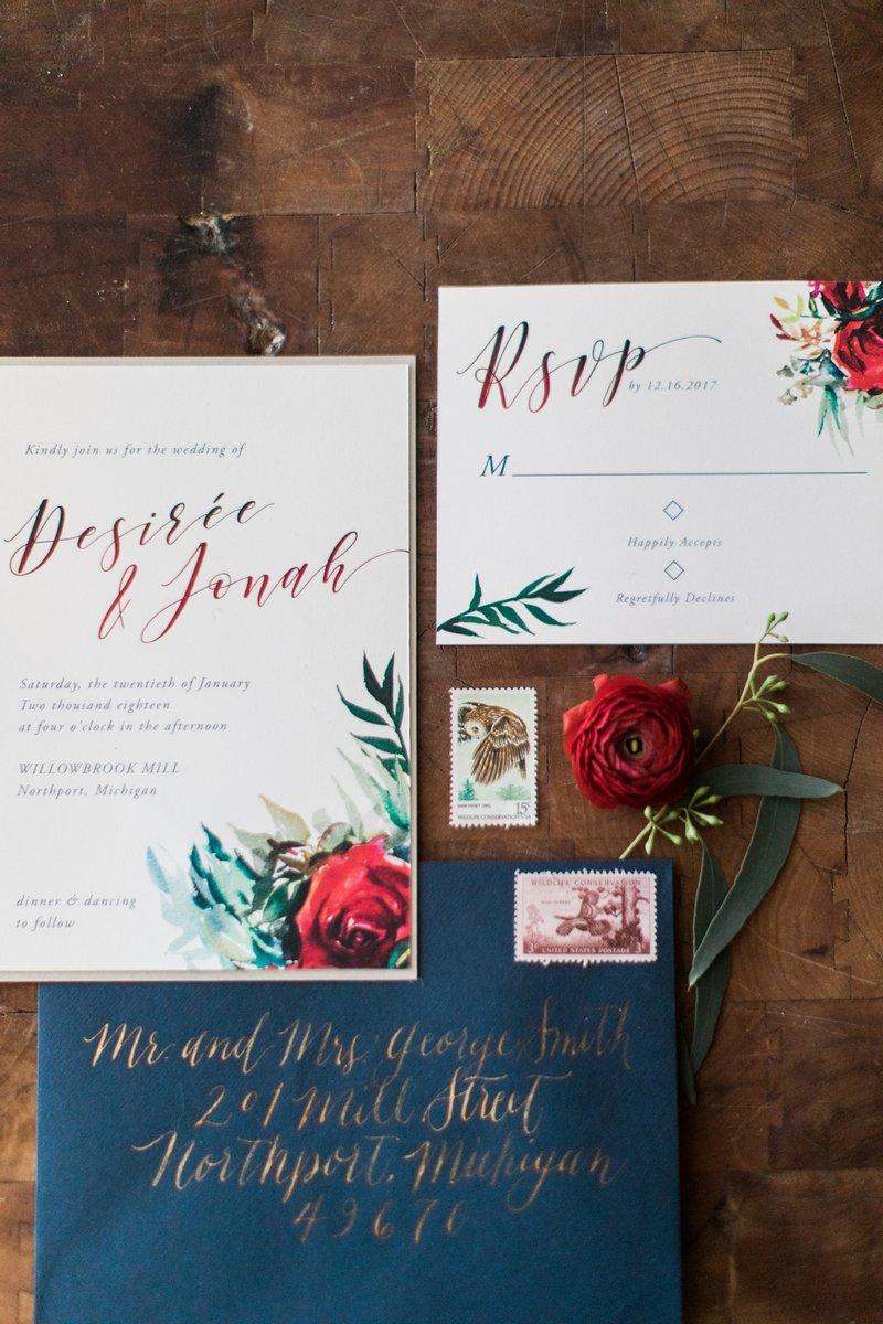 Navy and burgundy winter wedding stationery