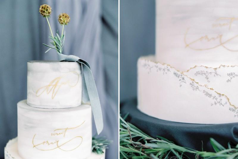 Grey detail on wedding cake