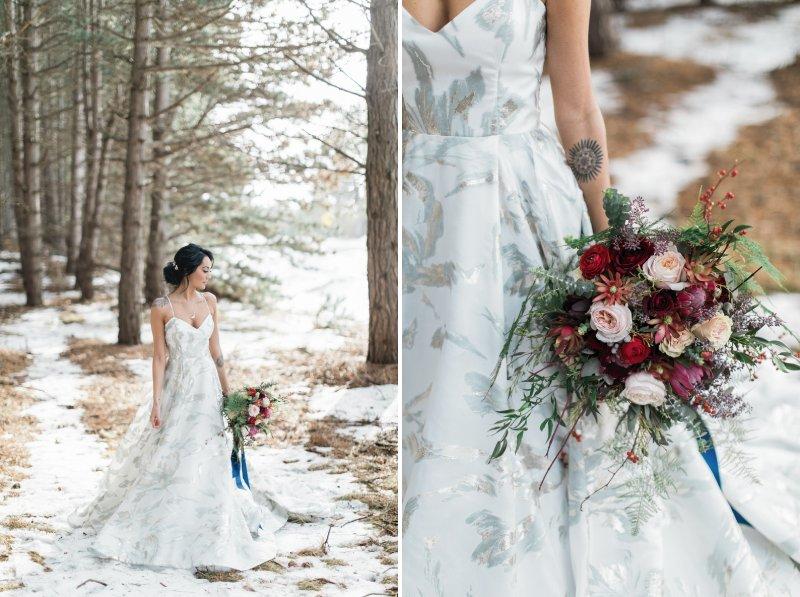 Bride holding winter wedding bouquet