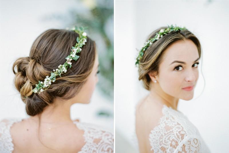 Bride wearing foliage crown