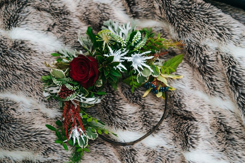 Foliage and rose floral hoop