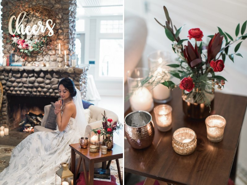 Bride sitting next to small table of candles
