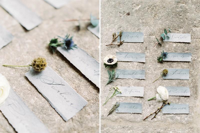 Grey wedding name cards