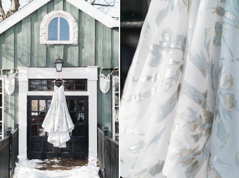 Wedding dress hanging in doorway of Willowbrook Mill, Michigan