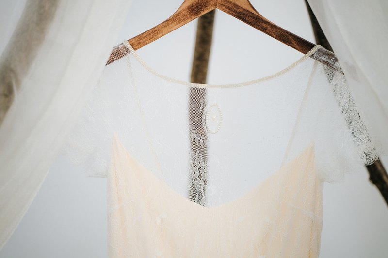 Close up of detail on wedding dress