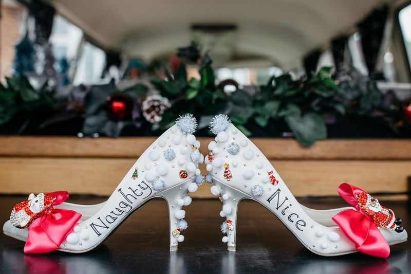 Naughty or nice wedding shoes covered in pom poms