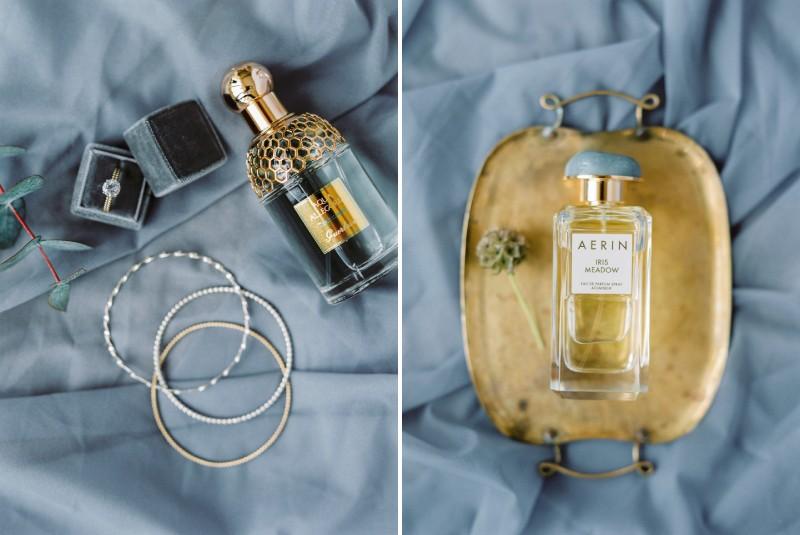 Perfumes on grey cloth
