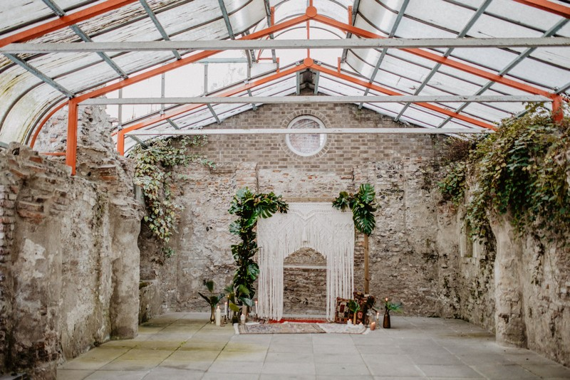 Macramé wedding backdrop in The Crypt at The Halls Norwich