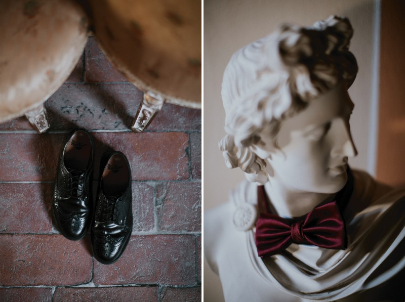 Groom's shoes and red bow tie