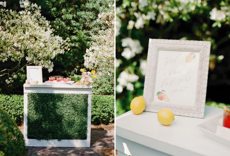 Wedding welcome drink table