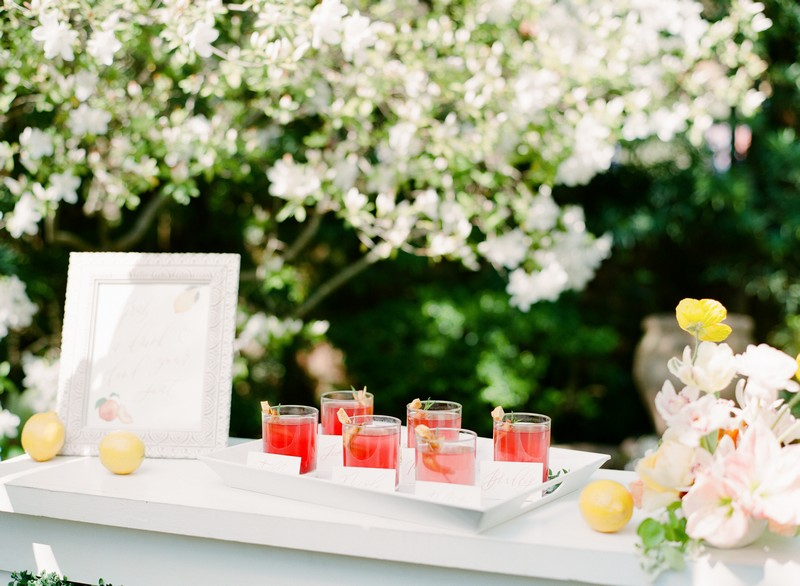Tray of wedding welcome drinks