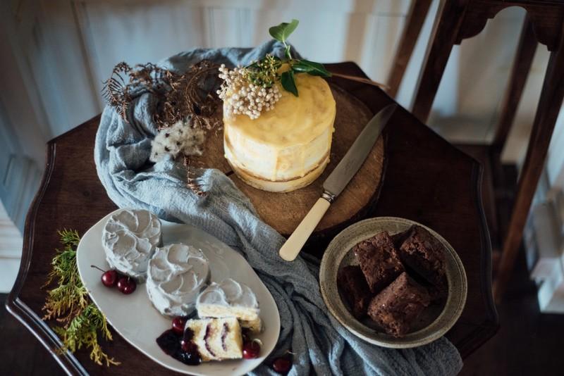 Wedding cake and brownies