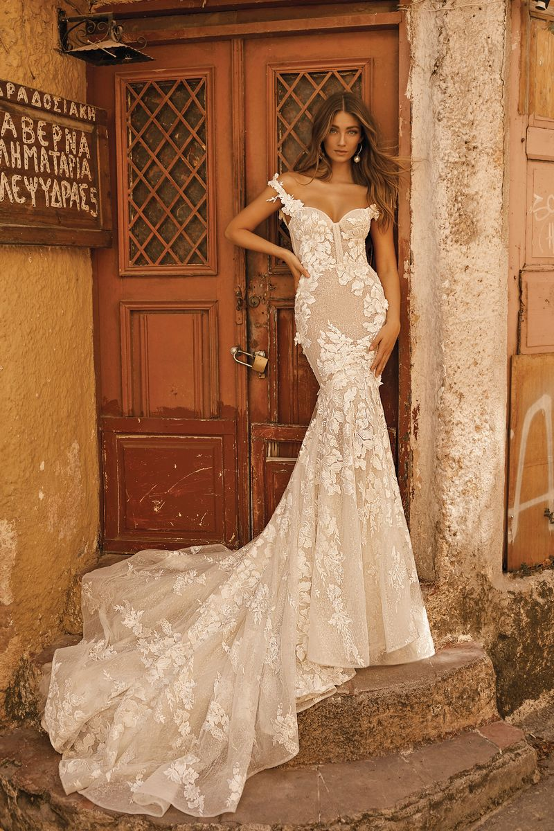 19-101 Wedding Dress with 3D Floral Design by BERTA