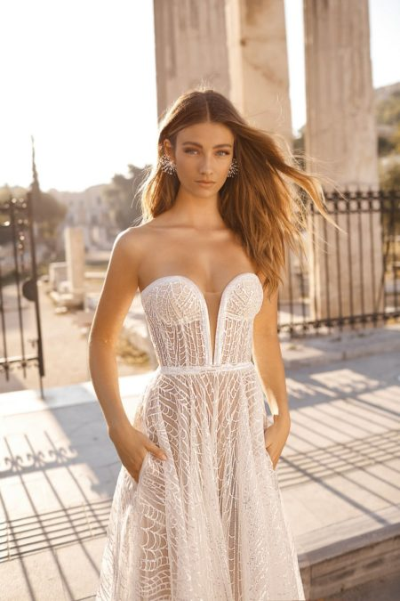Detail on 19-106 Wedding Dress from the BERTA Athens F/W 2019 Bridal Collection